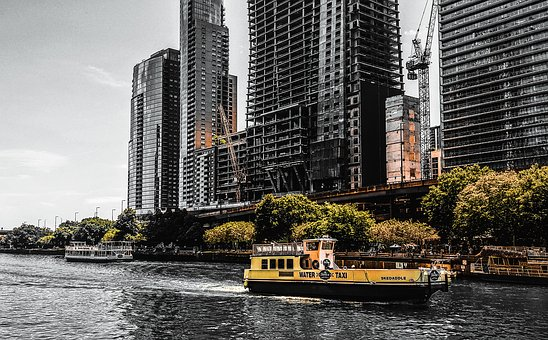Chicago, Water Taxi, River, Boat, Skedaddle, Yellow