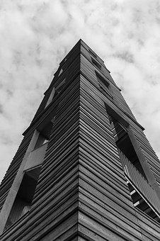 Tower, Black And White, Architecture, Sky, White