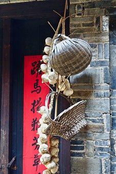 Basket, Asian, Garlic, Hanging, Culture, Exotic