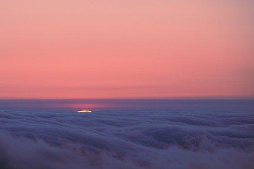 Sunset, Dawn, Sea Of Clouds, Clouds, Pink, Purple