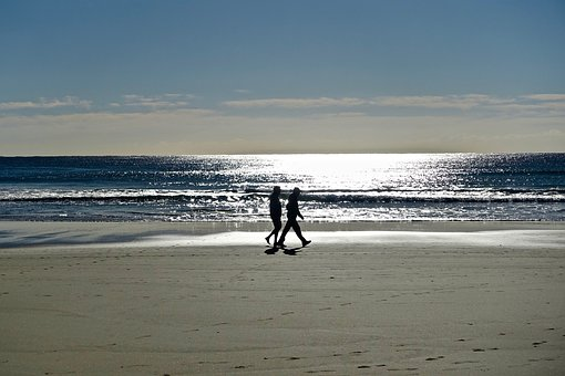 Couple, Stroll, Beach, Sea, Happiness, Two, Outdoors