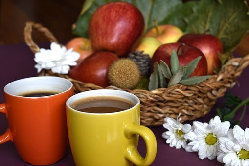 Coffee, Cups, Latte, Drink, Double, Pair, Autumn