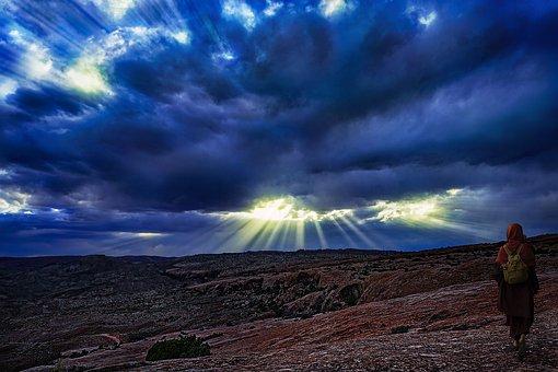 Sunset, Rays, Light, Clouds, Sky, Evening, Nun, Sayalay