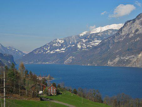 Mountains, Switzerland, Lake Walen, Fourths