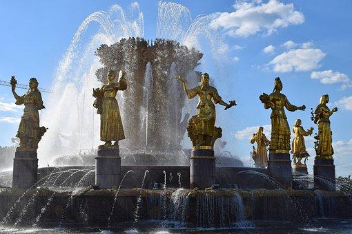 Enea, Moscow, Russia, Fountain, Friendship, Beautiful