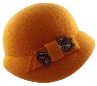 Hat Womens, Hat Filcowy, Hat Orange, Felt, Headgear