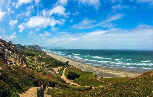 Beach, Ocean, San Francisco, Fort Funston, Water