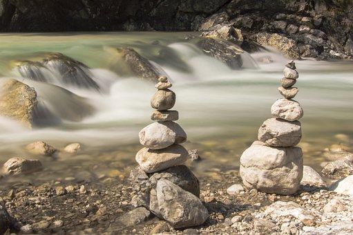 Rock, Stones, Pebble, Water, River, Love, Two, Pair