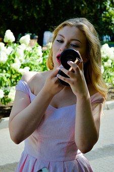 Girl, The Mirror, Pomade, Lipstick, Admires, Fashion