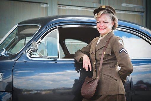 Vintage, Woman, Soldier, Auto, Oldtimer, Retro