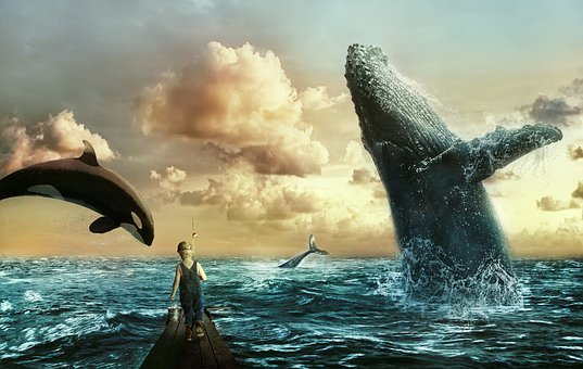 Sea, Whales, Boy, Clouds, Sky, Water, Ocean, Child