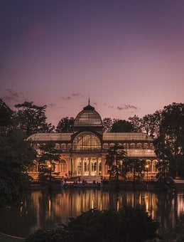 Crystal Palace, Madrid, Pond, Sunset, Landscape