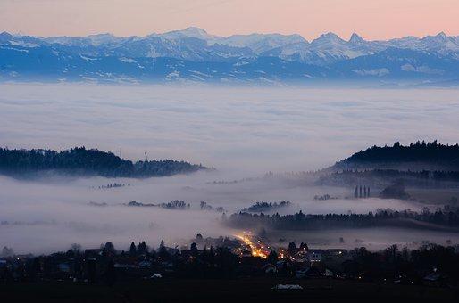 Fall, Fog, Landscape, Mist, Neuchâtel, Val De Ruz, Alps