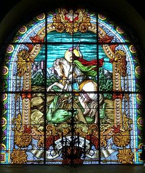 Window, Church Window, Georg, Fight, Dragons