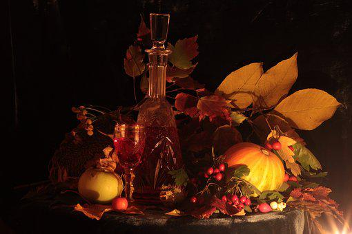 Autumn, Still Life, Apples, Candles, Yellow, Glass