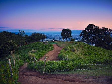 Japan, Nara, Sunset, Wakakusa, Park, Hill, Blue, Green