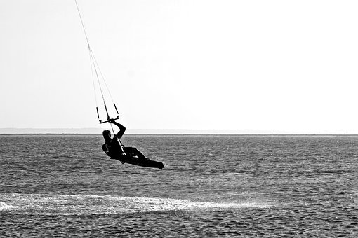 Water Sports, Black And White Photography, Greyscale