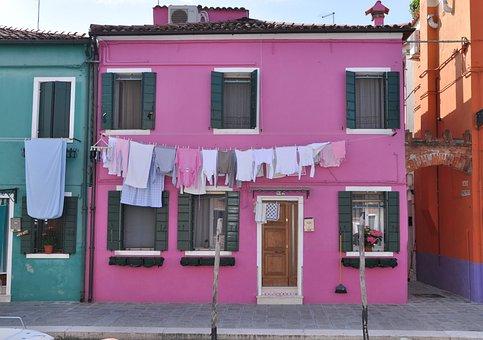 Burano, House, Color, Linen, Venice, Channel, Facade