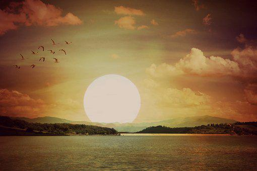 Sun, Cloud, Sky, In The Evening, Water, Mountains