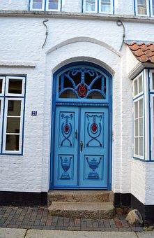 Husum, Door, Blue, Input, Building, Old, House, Facade