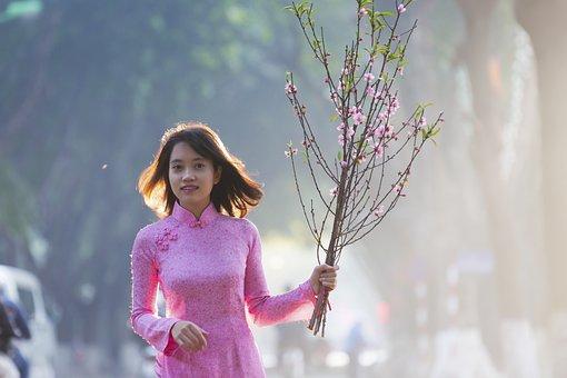 Lady In Pink, Hanoi Girl, Bright Smile, Nice Girl