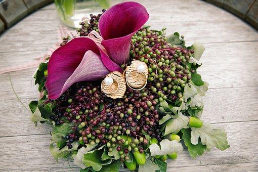 Wedding Rings, Flower, Wedding, Marriage, Romantic