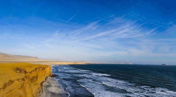 Cliff, Pacific, Surf, Beach, Landscape, Coast, Rock