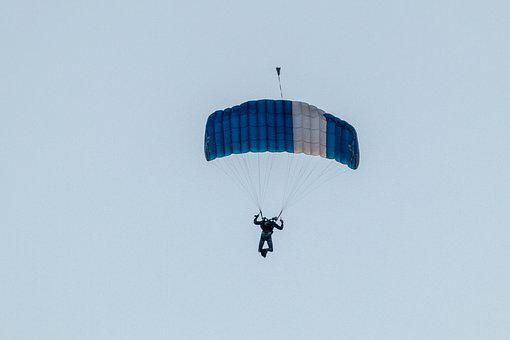 Parachutist, Parachute, Skydiving, Sky, Clouds, Jump