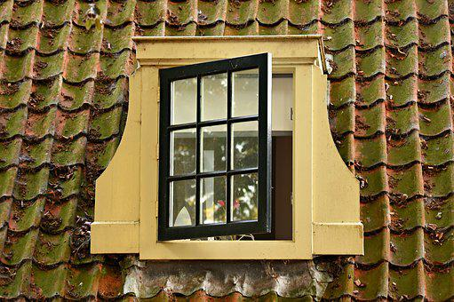 Dormer Window, Pane, Classic, Historic, Roof, Tiles