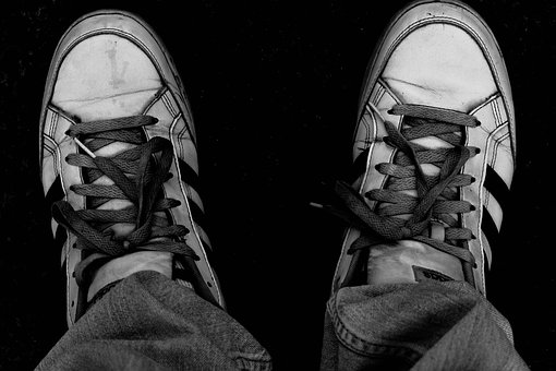 Shoes, Trekking Shoes, Black And White, B W, Lightroom