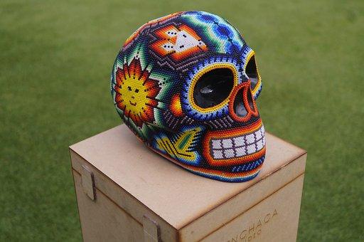 Skull, Huichol, Art, Image, Face, Mexico, Sun, Colorful