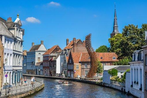 Belgium, Brugge, Canal, River, Architecture, Buildings
