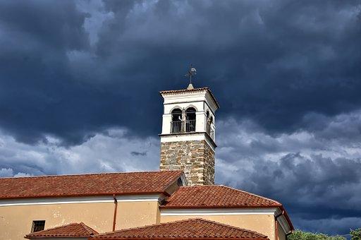 Building, Tower, Clouds, Storm, Tiles, City