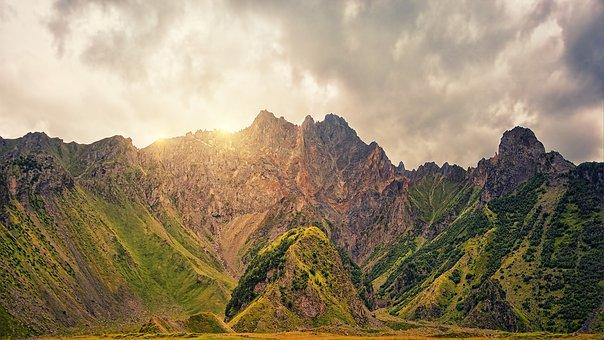 Mountains, Caucasus, Sun, Sunrise, Clouds, Nature