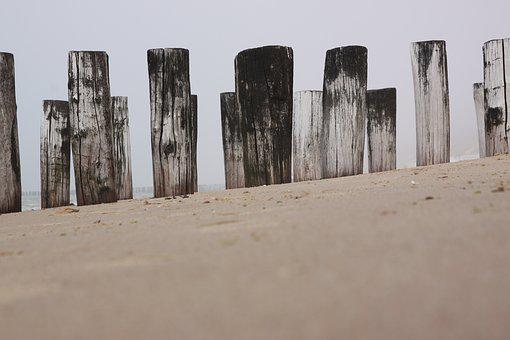 Sand, Beach, Coast, Pole, Poles, Wood, Netherlands