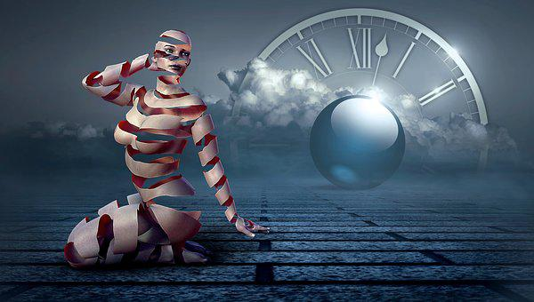 Fantasy, Surreal, Woman, Band, Ball, Effect, Clock