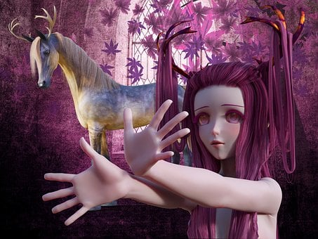 Fee, Fantasy, Horse, Unicorn, Antler, Fairy Tales