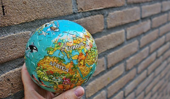 Globe, Child, Puzzling, Continents, Earth, World