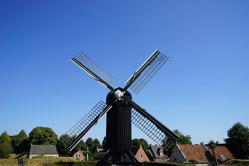 Windmill, Holland, Netherlands, Landscape, Wind