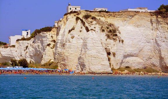 Beach, Rock, Sea, Promontory, Costa, Houses, Umbrellas