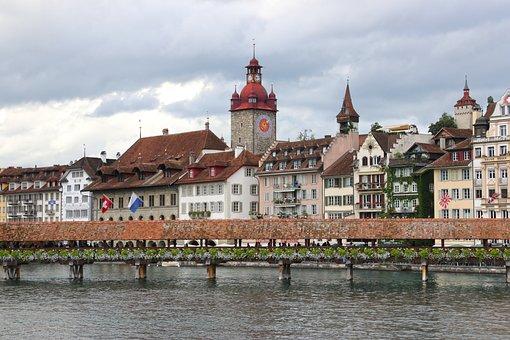 Lucerne, Switzerland, Wooden, Bridge, Kapellbrücke