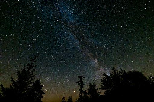 Milky Way, Shooting Star, Starry Sky, Night