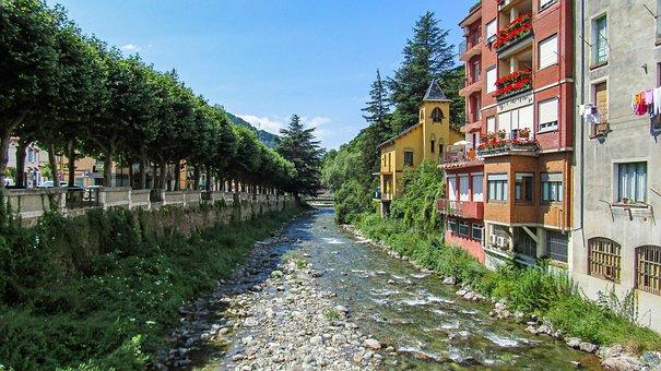 Ribes De Freser, Tourism, River, City, Summer, Spain