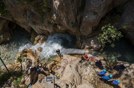 Mountaineer, Climb, Sport, Waterfall, Water, River