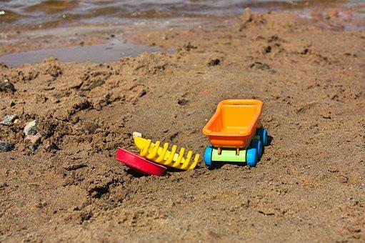Beach, Summer, Kids, Toys, Sand, Small River, Sea