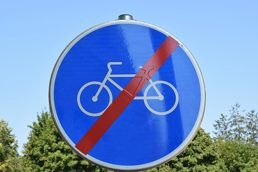 Traffic Sign, Finished Road For Bicycles, Street, Urban