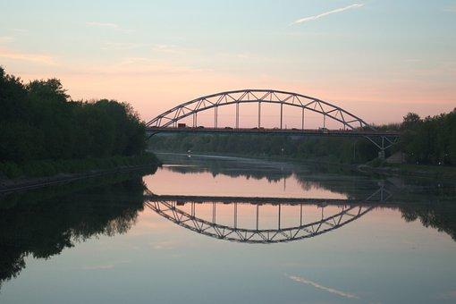 Bridge, River, Sunset, Reflection, Transport, Water