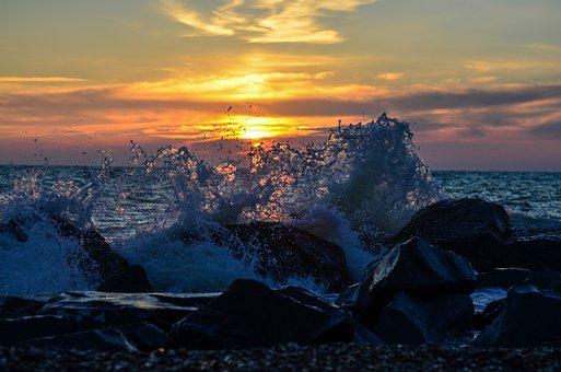 Sunset, Wave, Spray, Sea, Ocean, Water, Beach, Sky