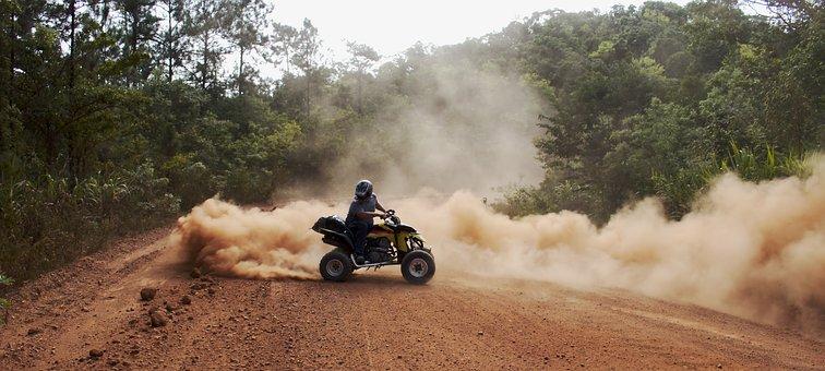 Atv, Quad, Drive, Dust, Gravel, Tire, Track, Mountain