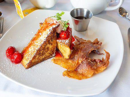 Breakfast, French Toast, Syrup, Maple Syrup, Bacon